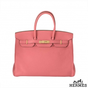 Hermes Birkin 35cm Rose lipstick GHW in Togo leather,